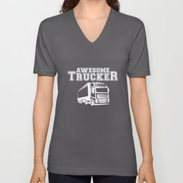 Trucker Mens Funny Beard Length Driver Lorry Gift Truck T-Shirts Unisex V-Neck