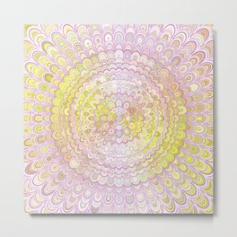 Mandala Flower in White and Yellow Metal Print