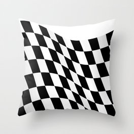 Wavy checkered racing flag, black and white Throw Pillow