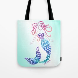Tribal Mermaid with Ombre Turquoise Background Tote Bag