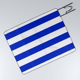 Cobalt Blue and White Wide Cabana Tent Stripe Picnic Blanket
