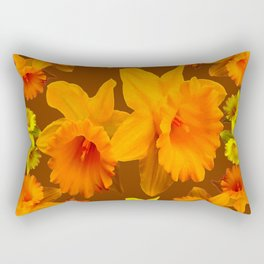 YELLOW SPRING DAFFODILS & COFFEE BROWN COLOR ART Rectangular Pillow