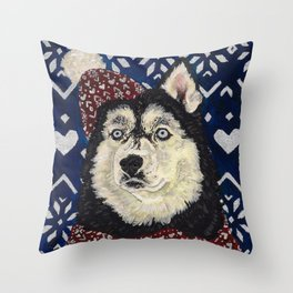 Husky in a Hat and Scarf Throw Pillow