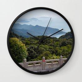 View from Tian Tan Buddha, Lantau Island, Hong Kong Wall Clock