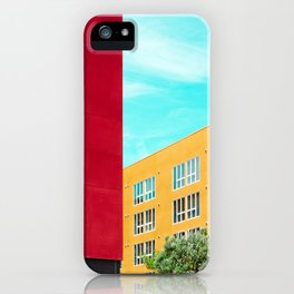 Architectural photography building red+yellow / aqua sky iPhone Case