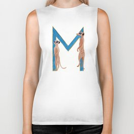 M is for Meerkat Letter Alphabet Decor Design Art Pattern Biker Tank