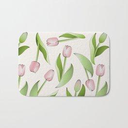 Retro Chic Pink Tulip Patten Bath Mat