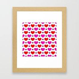 Love Hearts Pattern Framed Art Print