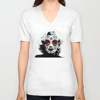 marylin monroe V-neck T-shirts featuring Marylin de los Muertos 4 by jazzyjules63