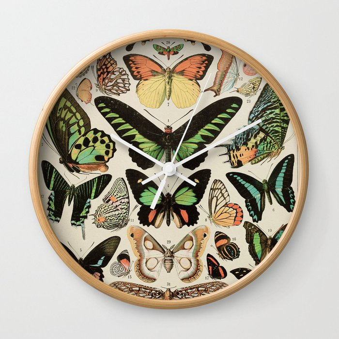Papillon II Vintage French Butterfly Chart by Adolphe Millot Wall Clock