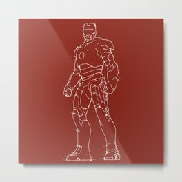 Iron man drak red background handmade drawing Metal Print