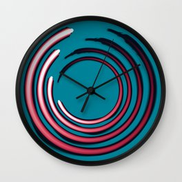 Rough red circles over blue Wall Clock