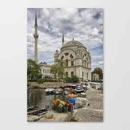 Mosque and the Flowers  Canvas Print