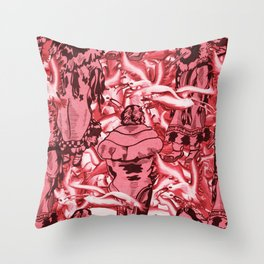 Eskimo Curlew Red Throw Pillow