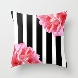 Pink roses on black and white stripes Throw Pillow