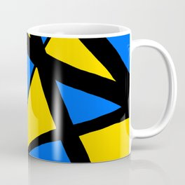 Yellow and Blue Triangles Abstract Coffee Mug