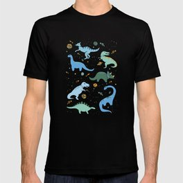 Dinosaurs in Space in Blue T-shirt