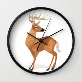 Low Poly White-tailed Deer Wall Clock