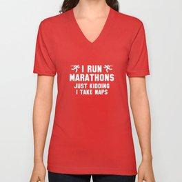 I Run Marathons Unisex V-Neck
