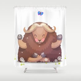 Meditating tibetan yak Shower Curtain
