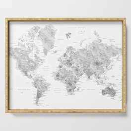 Marble world map in light grey and brown Serving Tray