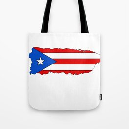Puerto Rico Map with Puerto Rican Flag Tote Bag