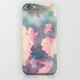 Cloud : gray, pink, magenta, aqua, and cream abstract ink painting iPhone Case