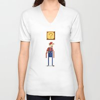 pixel V-neck T-shirts featuring Pixel Plumber by Michael B. Myers Jr.