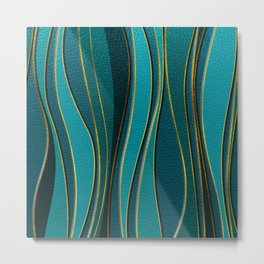 Teal Leather and Gold Sea  Wave Pattern Metal Print