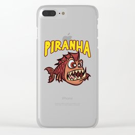 ANGRY PIRANHA Fish Scarry Red Cartoon Gift Clear iPhone Case