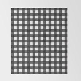 Black Gingham Throw Blanket