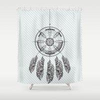 dream catcher Shower Curtains featuring Dream catcher by Daniac Design