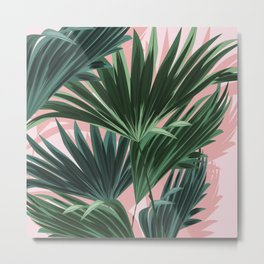 Pink and green palm trees Metal Print