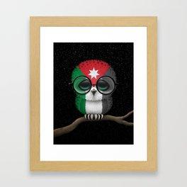 Baby Owl with Glasses and Jordanian Flag Framed Art Print