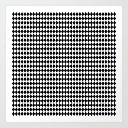 Micro Black & White Mini Diamond Check Board Pattern Art Print