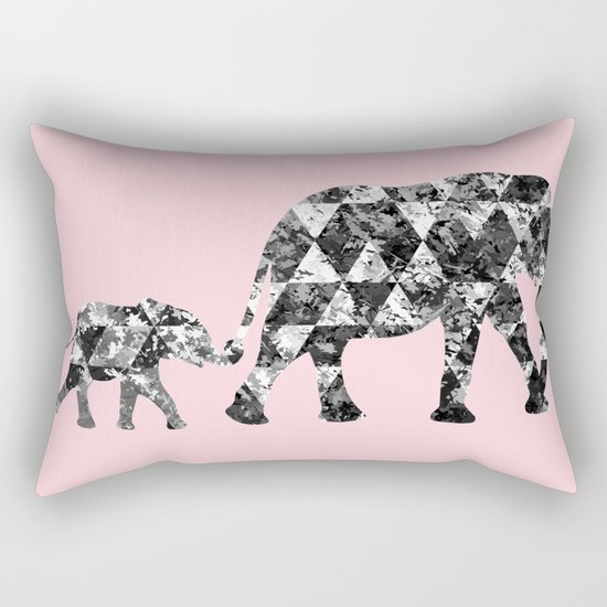 Patchwork Elephants Rectangular Pillow