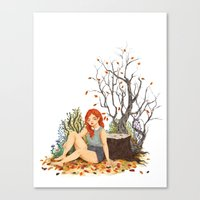 lydia martin Canvas Prints featuring Lydia Martin, Autumn by strangehats