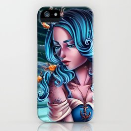 Edgy Upside-Down Fish Girl iPhone Case
