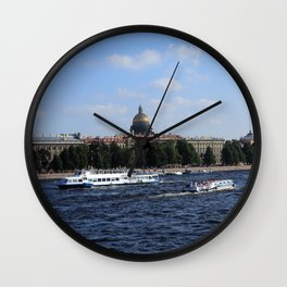 Passenger Boats on Neva River with dome of St. Isaac's Cathedral. Wall Clock