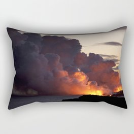 Lava Vaporizes Ocean Rectangular Pillow