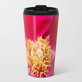 Peony Scarlet O'Hara - Red Satin with Gold Dust Travel Mug