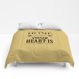 Home is Where - Typography brown Comforters