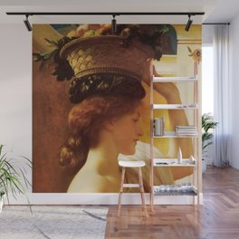 "Frederic Leighton ""Girl with a basket of fruit"" Wall Mural"
