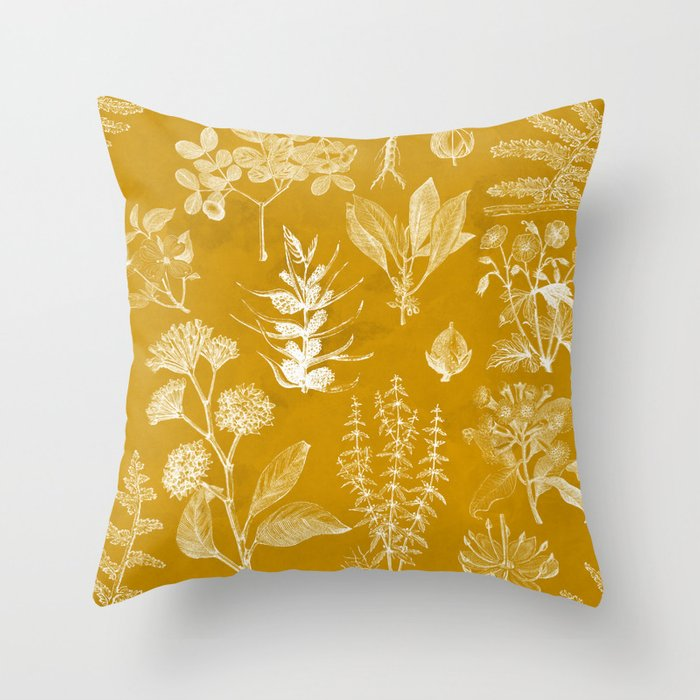 Yellow Mustard Vintage Floral Deko-Kissen