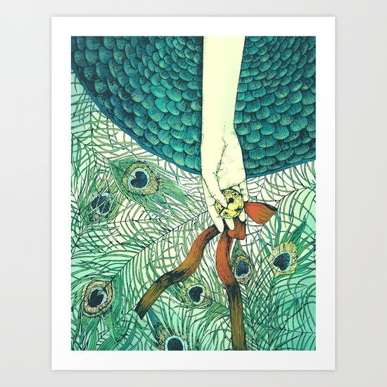 Golden bell and peacock feathers Art Print