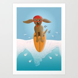 Surf Dog on Top of the Wave Art Print