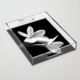 White Flowers Black Background Acrylic Tray