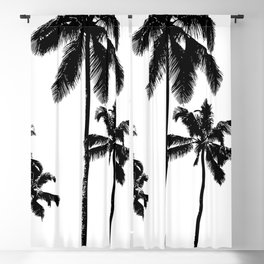 Monochrome tropical palms Blackout Curtain