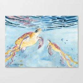 Take A Breath Sea Turtle Canvas Print