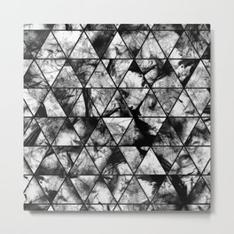 Triangular Whispers - Black and white, geometric abstract Metal Print
